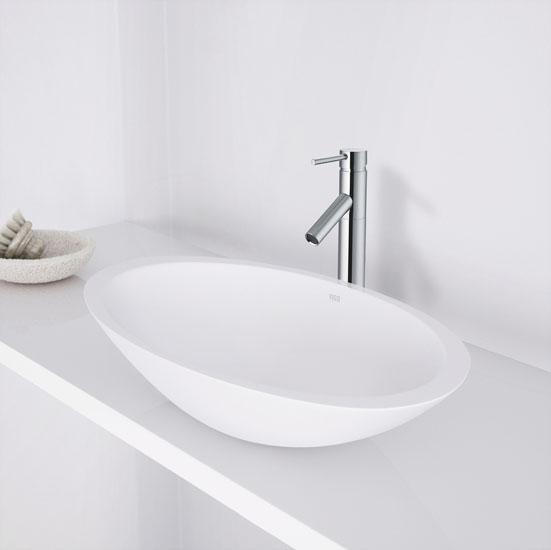 Vigo Wisteria Matte Stone Vessel Bathroom Sink In White 23 W X 13