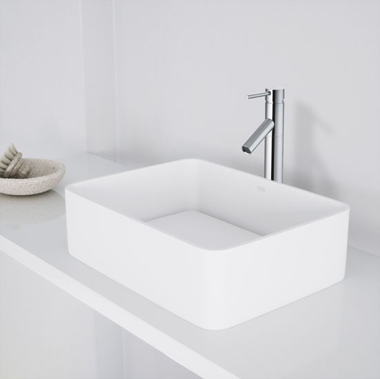Vigo Jasmine Matte Stone Vessel Bathroom Sink In White 18 W X 14
