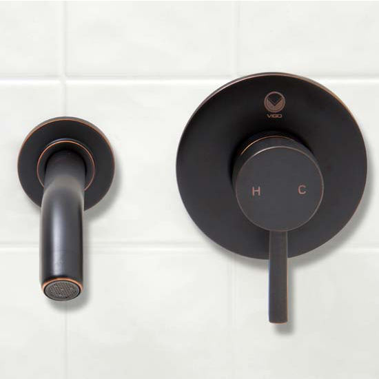 Vigo Olus Antique Rubbed Bronze Finish Single Lever Wall Mount Faucet with Pop Up