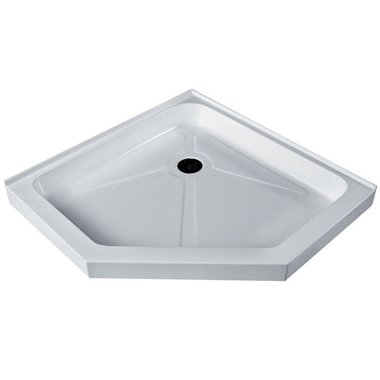 "Vigo VIG-VG06068WHT38, Low Profile Neo-Angle Shower Tray White, 38-1/8"" W x 38-1/8"" D x 3-3/8"" H"