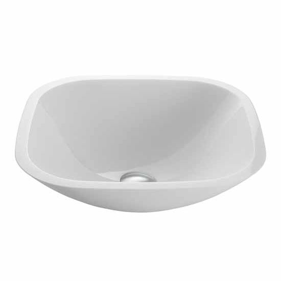 "Vigo Square Shaped White Phoenix Stone Glass Vessel Bathroom Sink - 16-1/2""L x 16-1/2""W x 5-1/2""H"