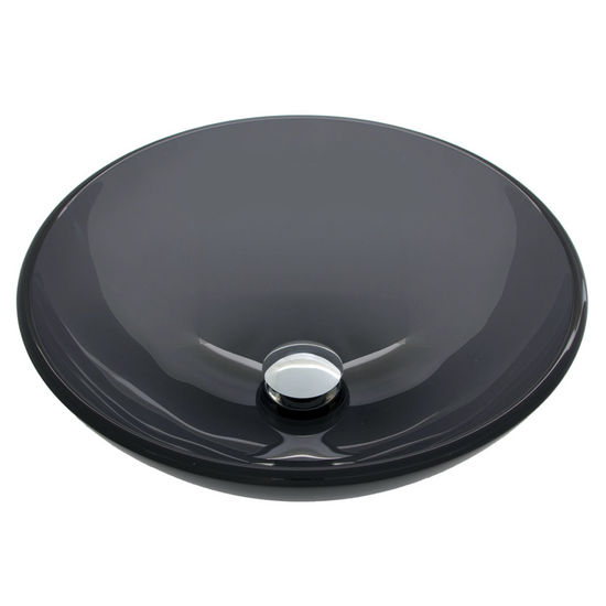 "Vigo VIG-VG07042, Sheer Black Glass Vessel Bathroom Sink, 16-1/2"" Diameter x 6"" H"