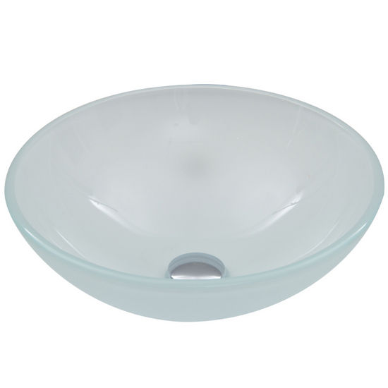 "Vigo VIG-VG07043, White Frost Glass Vessel Bathroom Sink, 16-1/2"" Diameter x 6"" H"