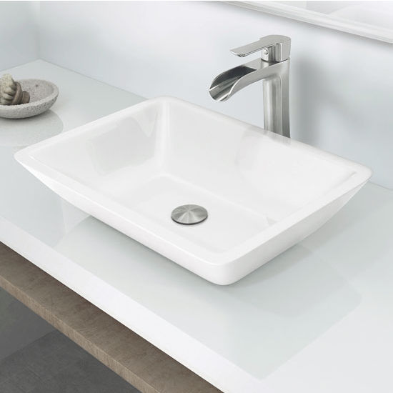 Vigo White Flat Edged Rectangular Phoenix Stone Vessel Bathroom Sink
