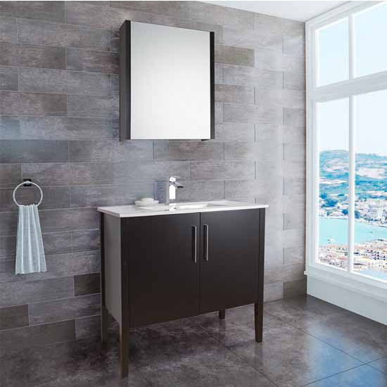 Vigo 36-Inch Maxine Single Bathroom Vanity with Top-Mount Ceramic Countertop/Integrated Sink, Espresso or Wenge Finish