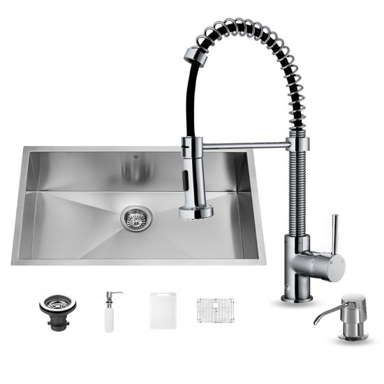 "Vigo VIG-VG15147, All in One 32-inch Undermount Stainless Steel Kitchen Sink and Chrome Faucet Set, 16 Gauge, 32"" W x 19"" D x 10"" H, Stainless Steel/Chrome"