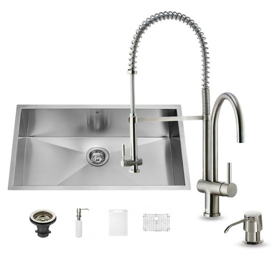 "Vigo VIG-VG15149, All in One 32-inch Undermount Stainless Steel Kitchen Sink and Faucet Set , 16 Gauge, 32"" W x 19"" D x 10"" H, Stainless Steel"