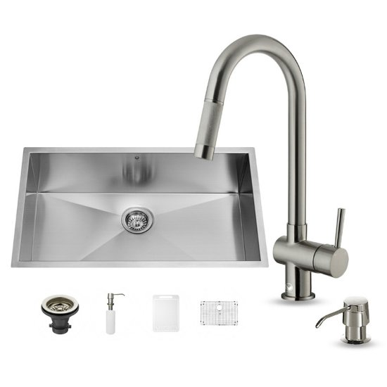 "Vigo VIG-VG15150, All in One 32-inch Undermount Stainless Steel Kitchen Sink and Faucet Set , 16 Gauge, 32"" W x 19"" D x 10"" H, Stainless Steel"