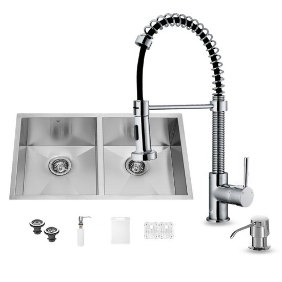 "Vigo VIG-VG15153, All in One 32-inch Undermount Stainless Steel Double Bowl Kitchen Sink and Chrome Faucet Set , 16 Gauge, 32"" W x 19"" D x 10"" H, Stainless Steel/Chrome"
