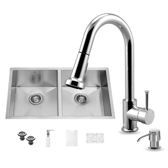 "Vigo VIG-VG15154, All in One 32-inch Undermount Stainless Steel Double Bowl Kitchen Sink and Chrome Faucet Set , 16 Gauge, 32"" W x 19"" D x 10"" H, Stainless Steel/Chrome"