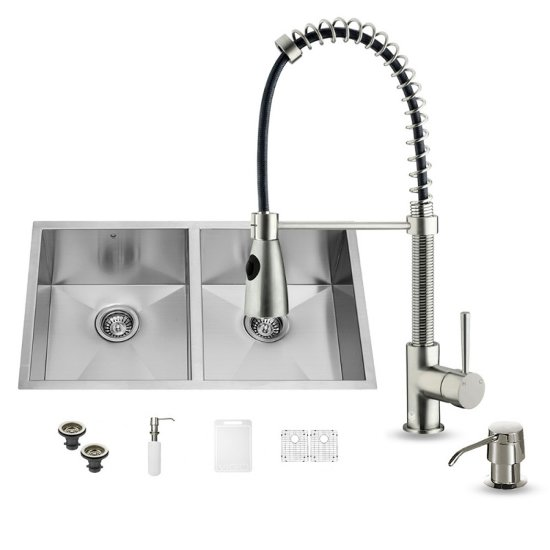 "Vigo VIG-VG15155, All in One 32-inch Undermount Stainless Steel Double Bowl Kitchen Sink and Faucet Set , 16 Gauge, 32"" W x 19"" D x 10"" H, Stainless Steel"