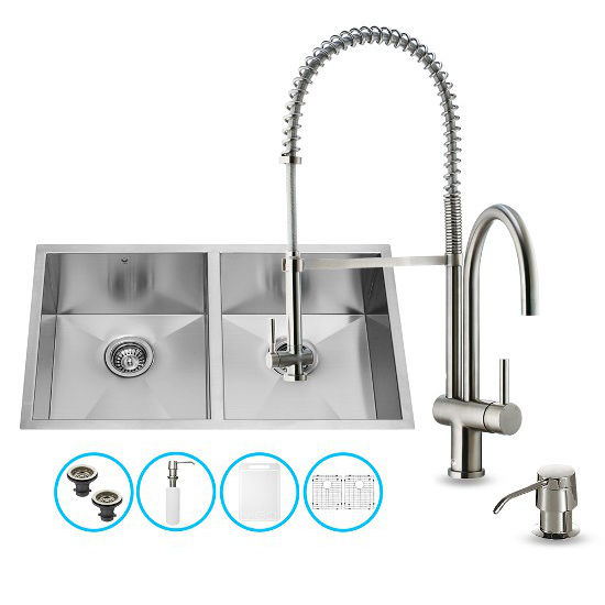 "Vigo VIG-VG15156, All in One 32-inch Undermount Stainless Steel Double Bowl Kitchen Sink and Faucet Set , 16 Gauge, 32"" W x 19"" D x 10"" H, Stainless Steel"