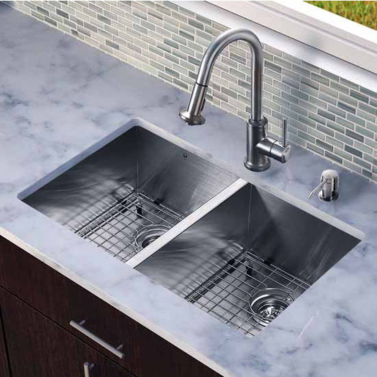 Vigo All In One 32-Inch Undermount Stainless Steel Double Bowl Kitchen Sink And Faucet Set