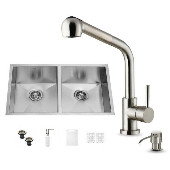 "Vigo VIG-VG15160, All in One 32-inch Undermount Stainless Steel Double Bowl Kitchen Sink and Faucet Set , 16 Gauge, 32"" W x 19"" D x 10"" H, Stainless Steel"