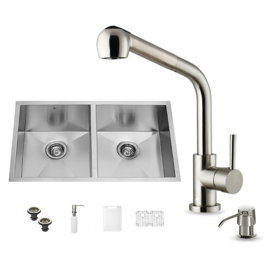 "Vigo VIG-VG15161, All in One 32-inch Undermount Stainless Steel Double Bowl Kitchen Sink and Faucet Set , 16 Gauge, 32"" W x 19"" D x 10"" H, Stainless Steel"