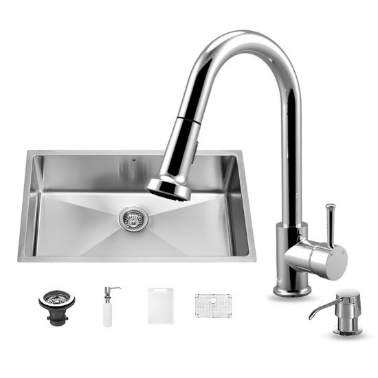 "Vigo VIG-VG15162, All in One 32-inch Undermount Stainless Steel Kitchen Sink and Chrome Faucet Set , 16 Gauge, 32"" W x 19"" D x 10"" H, Stainless Steel/Chrome"