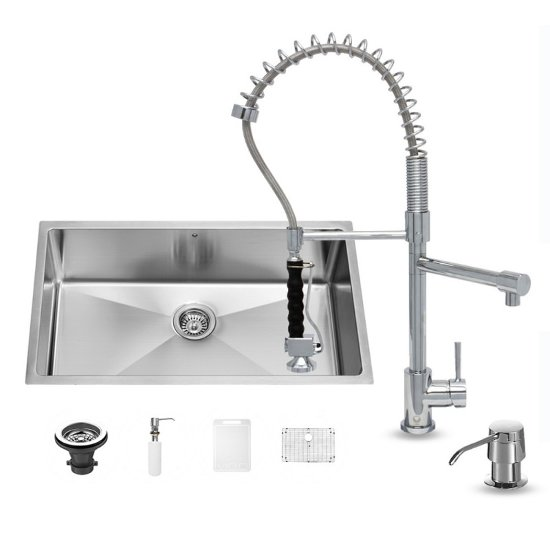 "Vigo VIG-VG15164, All in One 32-inch Undermount Stainless Steel Kitchen Sink and Chrome Faucet Set , 16 Gauge, 32"" W x 19"" D x 10"" H, Stainless Steel/Chrome"