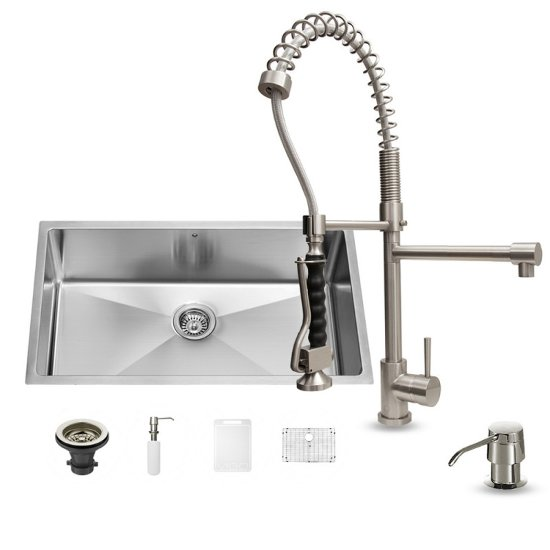 "Vigo VIG-VG15165, All in One 32-inch Undermount Stainless Steel Kitchen Sink and Faucet Set , 16 Gauge, 32"" W x 19"" D x 10"" H, Stainless Steel"