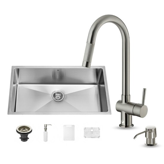 "Vigo VIG-VG15166, All in One 32-inch Undermount Stainless Steel Kitchen Sink and Faucet Set , 16 Gauge, 32"" W x 19"" D x 10"" H, Stainless Steel"