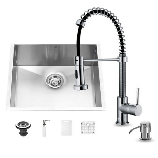 "Vigo VIG-VG15168, All in One 23-inch Undermount Stainless Steel Kitchen Sink and Chrome Faucet Set , 16 Gauge, 23"" W x 20"" D x 10-1/4"" H, Stainless Steel/Chrome"