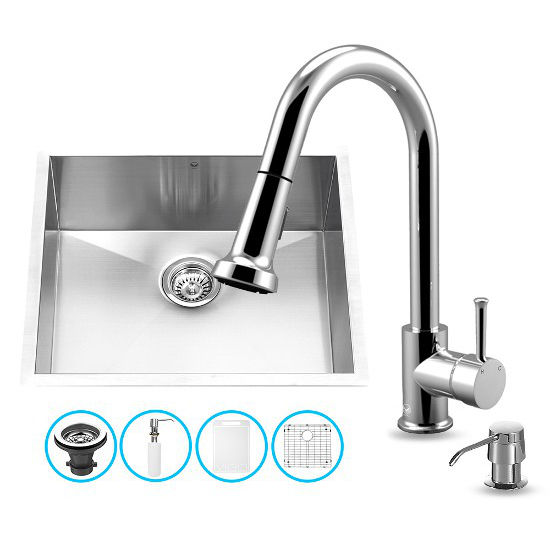 "Vigo VIG-VG15169, All in One 23-inch Undermount Stainless Steel Kitchen Sink and Chrome Faucet Set , 16 Gauge, 23"" W x 20"" D x 10-1/4"" H, Stainless Steel/Chrome"