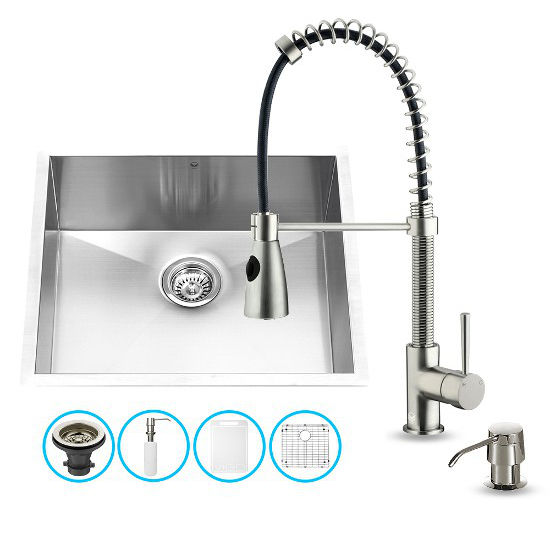 "Vigo VIG-VG15170, All in One 23-inch Undermount Stainless Steel Kitchen Sink and Faucet Set , 16 Gauge, 23"" W x 20"" D x 10-1/4"" H, Stainless Steel"