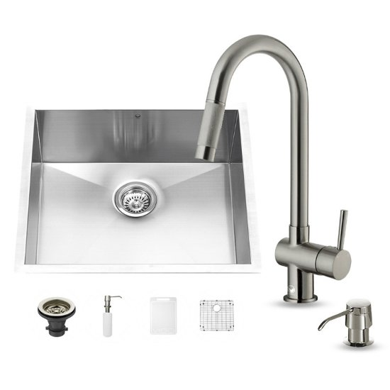 "Vigo VIG-VG15172, All in One 23-inch Undermount Stainless Steel Kitchen Sink and Faucet Set , 16 Gauge, 23"" W x 20"" D x 10-1/4"" H, Stainless Steel"