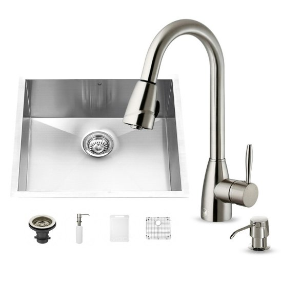 "Vigo VIG-VG15173, All in One 23-inch Undermount Stainless Steel Kitchen Sink and Faucet Set , 16 Gauge, 23"" W x 20"" D x 10-1/4"" H, Stainless Steel"