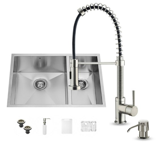 "Vigo VIG-VG15176, All in One 29-inch Undermount Stainless Steel Double Bowl Kitchen Sink and Faucet Set, 16 Gauge, 29"" W x 20"" D x 10-1/4"" H, Stainless Steel"