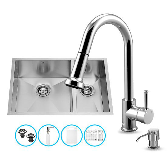 "Vigo VIG-VG15177, All in One 29-inch Undermount Stainless Steel Double Bowl Kitchen Sink and Chrome Faucet Set, 16 Gauge, 29"" W x 20"" D x 10-1/4"" H, Stainless Steel/Chrome"