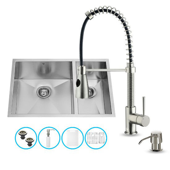 "Vigo VIG-VG15178, All in One 29-inch Undermount Stainless Steel Double Bowl Kitchen Sink and Faucet Set, 16 Gauge, 29"" W x 20"" D x 10-1/4"" H, Stainless Steel"