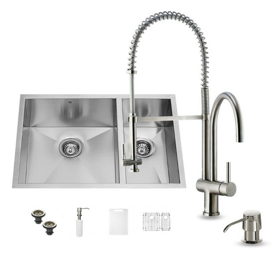 "Vigo VIG-VG15179, All in One 29-inch Undermount Stainless Steel Double Bowl Kitchen Sink and Faucet Set, 16 Gauge, 29"" W x 20"" D x 10-1/4"" H, Stainless Steel"