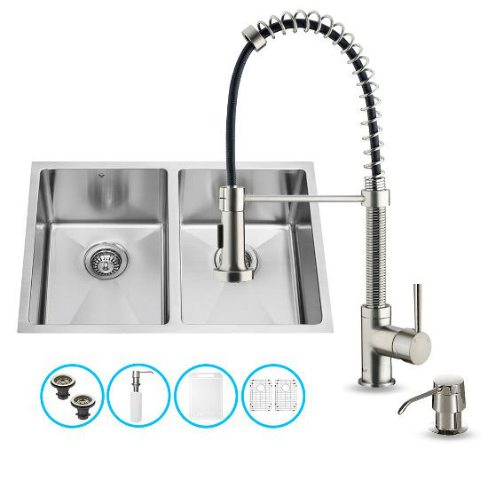 "Vigo VIG-VG15185, All in One 29-inch Undermount Stainless Steel Double Bowl Kitchen Sink and Faucet Set, 16 Gauge, 29"" W x 20"" D x 10"" H, Stainless Steel"