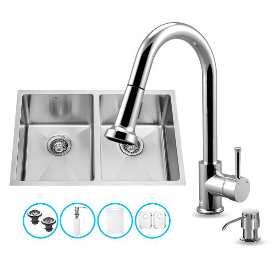 "Vigo VIG-VG15186, All in One 29-inch Undermount Stainless Steel Double Bowl Kitchen Sink and Chrome Faucet Set, 16 Gauge, 29"" W x 20"" D x 10"" H, Stainless Steel/Chrome"