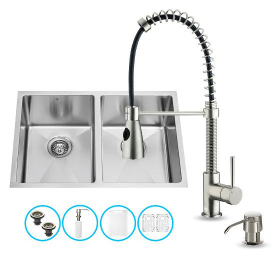 "Vigo VIG-VG15187, All in One 29-inch Undermount Stainless Steel Double Bowl Kitchen Sink and Faucet Set, 16 Gauge, 29"" W x 20"" D x 10"" H, Stainless Steel"