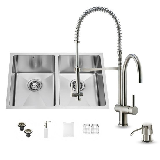 "Vigo VIG-VG15188, All in One 29-inch Undermount Stainless Steel Double Bowl Kitchen Sink and Faucet Set, 16 Gauge, 29"" W x 20"" D x 10"" H, Stainless Steel"