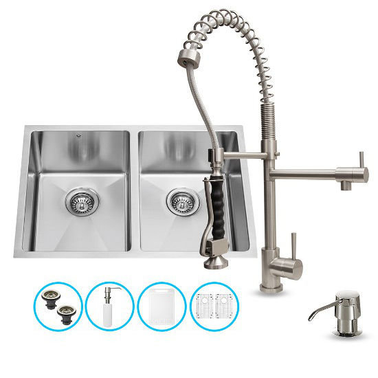 "Vigo VIG-VG15189, All in One 29-inch Undermount Stainless Steel Double Bowl Kitchen Sink and Faucet Set, 16 Gauge, 29"" W x 20"" D x 10"" H, Stainless Steel"