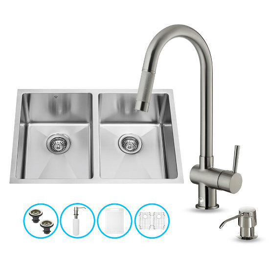 "Vigo VIG-VG15190, All in One 29-inch Undermount Stainless Steel Double Bowl Kitchen Sink and Faucet Set, 16 Gauge, 29"" W x 20"" D x 10"" H, Stainless Steel"