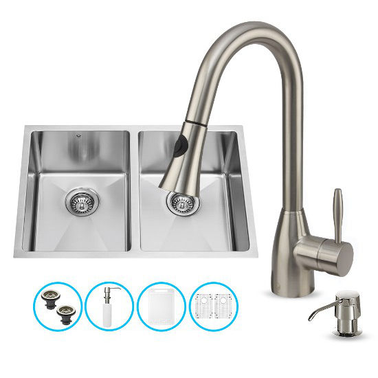 "Vigo VIG-VG15191, All in One 29-inch Undermount Stainless Steel Double Bowl Kitchen Sink and Faucet Set, 16 Gauge, 29"" W x 20"" D x 10"" H, Stainless Steel"