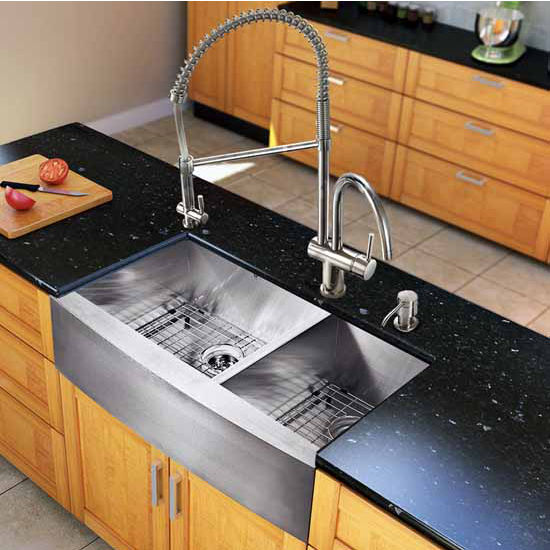 Vigo All In One 36-Inch Farmhouse Stainless Steel Double Bowl Kitchen Sink And Chrome Faucet Set