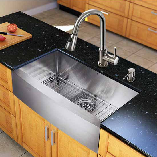 24 Inch Stainless Steel Farmhouse Sink : Vigos All In One 33-Inch Farmhouse Stainless Steel Kitchen Sink And ...