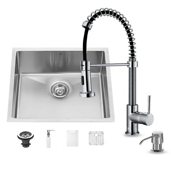 "Vigo VIG-VG15216, All in One 23-inch Undermount Stainless Steel Kitchen Sink and Chrome Faucet Set , 16 Gauge, 23"" W x 20"" D x 10-1/4"" H, Stainless Steel/Chrome"