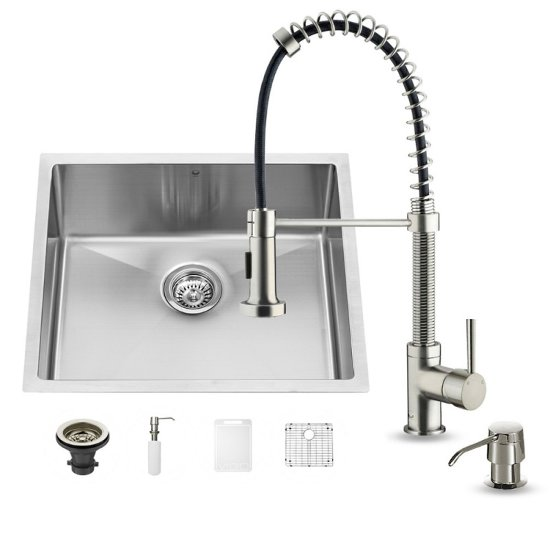 "Vigo VIG-VG15217, All in One 23-inch Undermount Stainless Steel Kitchen Sink and Faucet Set , 16 Gauge, 23"" W x 20"" D x 10-1/4"" H, Stainless Steel"