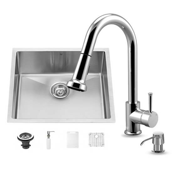 "Vigo VIG-VG15218, All in One 23-inch Undermount Stainless Steel Kitchen Sink and Chrome Faucet Set , 16 Gauge, 23"" W x 20"" D x 10-1/4"" H, Stainless Steel/Chrome"