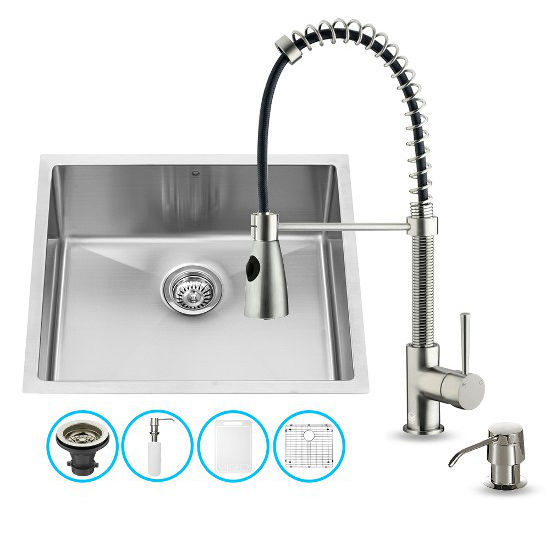 "Vigo VIG-VG15219, All in One 23-inch Undermount Stainless Steel Kitchen Sink and Faucet Set , 16 Gauge, 23"" W x 20"" D x 10-1/4"" H, Stainless Steel"