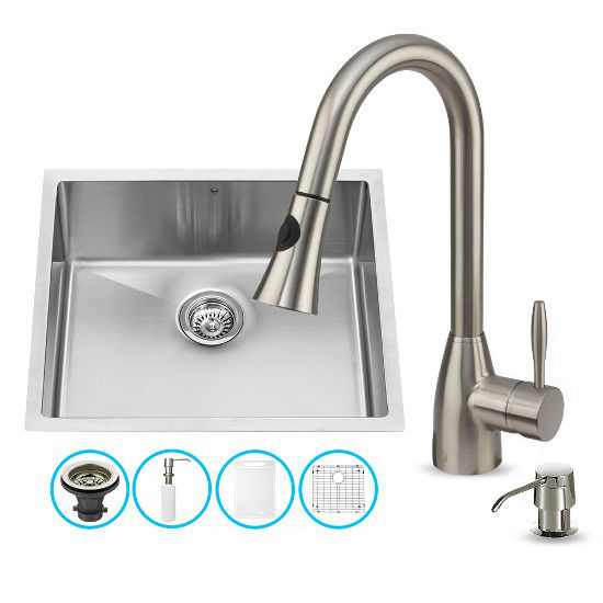 "Vigo VIG-VG15223, All in One 23-inch Undermount Stainless Steel Kitchen Sink and Faucet Set , 16 Gauge, 23"" W x 20"" D x 10-1/4"" H, Stainless Steel"