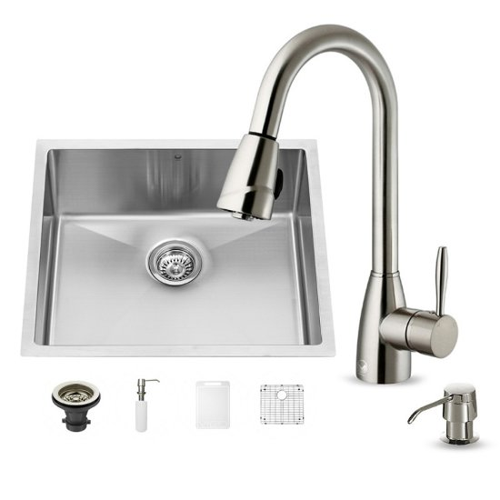 "Vigo VIG-VG15224, All in One 23-inch Undermount Stainless Steel Kitchen Sink and Faucet Set , 16 Gauge, 23"" W x 20"" D x 10-1/4"" H, Stainless Steel"