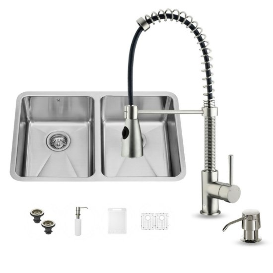 "Vigo VIG-VG15229, All in One 29-inch Undermount Stainless Steel Double Bowl Kitchen Sink and Faucet Set , 18 Gauge, 29-1/4"" W x 18-1/2"" D x 8-1/4"" H, Stainless Steel"