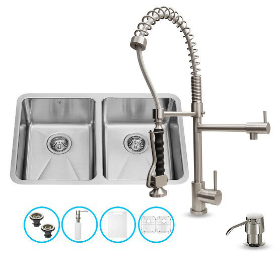 "Vigo VIG-VG15230, All in One 29-inch Undermount Stainless Steel Double Bowl Kitchen Sink and Faucet Set , 18 Gauge, 29-1/4"" W x 18-1/2"" D x 8-1/4"" H, Stainless Steel"