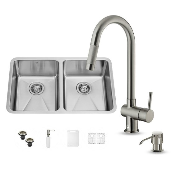 "Vigo VIG-VG15231, All in One 29-inch Undermount Stainless Steel Double Bowl Kitchen Sink and Faucet Set , 18 Gauge, 29-1/4"" W x 18-1/2"" D x 8-1/4"" H, Stainless Steel"